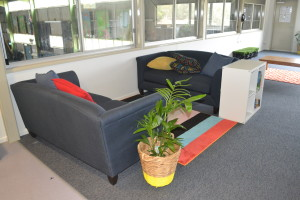 Comfy Couches, Cushions and bright rugs..... to help make our Reading and Chill Out Zone perfect