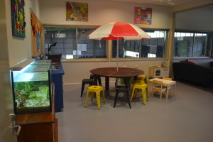 Our funky beach setting upstairs is used for a variety of activities and play