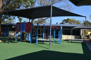 A Playground with Sandpit in a semi-fenced area for our younger students.
