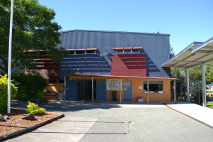 Front Entrance of the Activities Hall with access from the school oval and main classrooms. The front area allows access for students to obtain a cold drink from our chilled water fountains, and roller door access to the Kitchen.